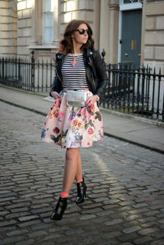LFW (AW14) Street Style Ted Baker floral skirt, breton stripe top, biker jacket, boots and ankle socks EJSTYLE Fashion Blog Emma Hill UK blogger