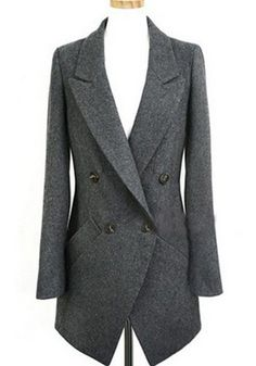 Classic Grey Plain Pockets Buttons V-neck Wrap Wool Coat #wool #coat #outerwear