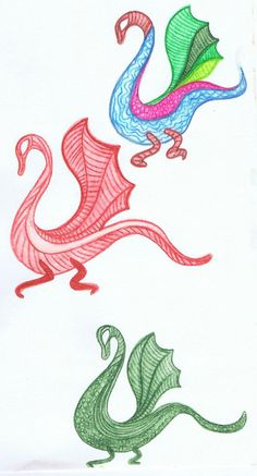 Dragons (colour, hand-drawn, Inktense)