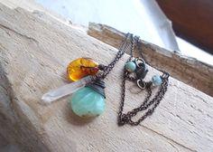 Mixed gemstone peruvian blue opal & quartz by CultivatedDreams