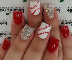 25 Red And Silver Nails - Sport Softball Nails, Baseball Nails, Baseball Mom, Baseball Girlfriend, Baseball Gifts, Baseball Season, Sports Baseball, Baseball Players, Fabulous Nails