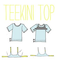 How to make a bathing suit from an old T-shirt. Would probably need a lycra lining to prevent vulgarity.