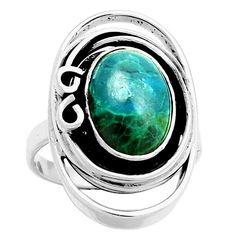 Chrysocolla - Peru 925 Sterling Silver Ring Jewelry s.10 6749R…