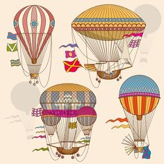 Vintage air balloon vector set by MicroOne on @creativemarket