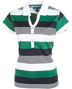Tommy Hilfiger Golf Game Set Stripe Polo with Mineral Green, Midnight and White Stripe #preppy