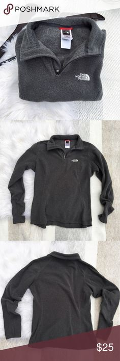 •North Face Quarter Zip Fleece Jacket• The North Face || Gray long sleeve quarter zip fleece jacket. Gently worn, no pilling.   •color: gray •great used condition  •no trades(comments politely ignored) •bundle to save North Face Jackets & Coats