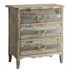 Crestview Collection Grand Isle 3 Drawer Chest Light toned wood with a blue-grey stripe drawers and rope handles. Rustic Furniture Stores, Cheap Furniture, Shabby Chic Furniture, Antique Furniture, Painted Furniture, Home Furniture, Bedroom Furniture, Discount Furniture, Luxury Furniture