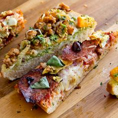 Italian Ciabatta Pizza with Salami, Artichokes and Marinara AND French Bread Pizza with Butternut Squash, Italian Sausage and Parsley-Sage Pesto