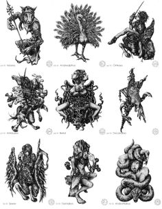 mirusoup:      omg… Illustrations of the 72 demons featured in the Lesser Key of Solomon's Ars Goetia. ♥     (Source: redgaloshesforfeet)