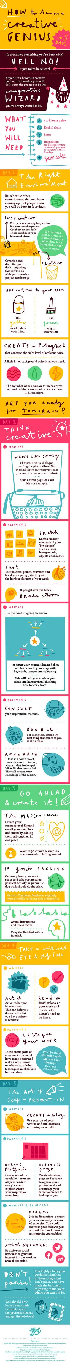 How To Become A Creative Genius In 5 Days #infographic #HowTo #Innovation