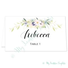 diy wedding place card template with a pretty watercolour floral design use for any occasion