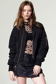 Jennifer Cropped Satin Bomber Jacket Discover the latest fashion trends online at storets.com #jacket #bomber #satin