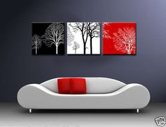 MODERN ABSTRACT WALL CANVAS ART OIL PAINTING black white red TREE (no frame)