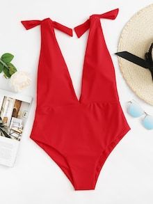 Shop Plus Tie Shoulder Double Plunge One Piece Swimsuit online. SHEIN offers Plus Tie Shoulder Double Plunge One Piece Swimsuit & more to fit your fashionable needs. Summer Outfits, Cute Outfits, Plunging One Piece Swimsuit, Bra Types, Beachwear For Women, The Bikini, Monokini, Romwe, Nylons