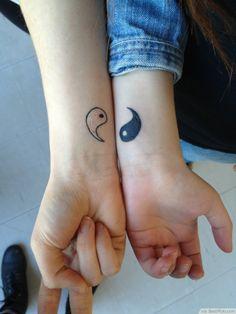 Perfect Match Small Yin Yang Tattoo On Wrist ❥❥❥ http://bestpickr.com/matching-couples-tattoos