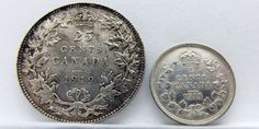 1919 Canada Silver 25 Cent (Quarter) & Silver 5 Cent (Nickel) Coin Lot