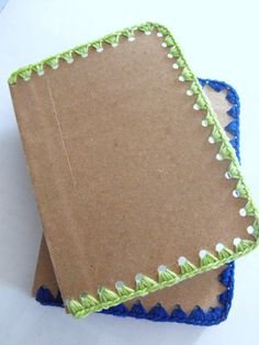 Ruby Murrays Musings: crochet around the edge of a notebook. This so reminds me of my great grandmother!