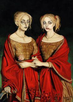"""cainites: """" The Voerman sisters - Theodore Chasseriau study by *kokomiko """" Vampire The Masquerade Bloodlines, Vampire Masquerade, Vampire Games, Vampire Art, Female Vampire, Joker And Harley, Harley Quinn, Character Inspiration, Character Art"""