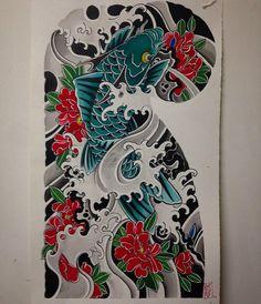 Kirin and peonies study! Japanese Tattoo Art, Japanese Tattoo Designs, Japanese Sleeve Tattoos, Japanese Art, Carp Tattoo, Koi Fish Tattoo, Koi Tattoo Design, Western Tattoos, Koi Dragon