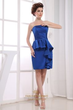 Short Strapless Satin Peplum Dress,Royal Blue Strapless Cocktail Dress,Short Satin Dress With Pleated Detail At Waist