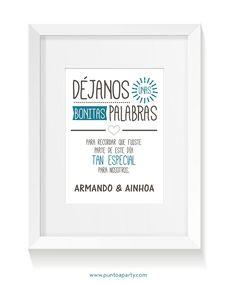 Cartel personalizado para la mesa de firmas en la boda de Armando y Ainhoa
