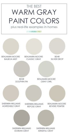 A collection of the best warm gray paint colors! This post also includes real-li. - A collection of the best warm gray paint colors! This post also includes real-life examples in home - Colores Benjamin Moore, Hale Navy Benjamin Moore, Benjamin Moore Classic Gray, Benjamin Moore Simply White, Revere Pewter Benjamin Moore, Interior Paint Colors, Paint Colors For Home, Best Bedroom Paint Colors, Modern Paint Colors