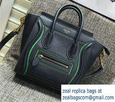 6581e9d81c Celine Luggage Nano Tote Bag in Original Leather Black Green 2016 Celine Bag  2017