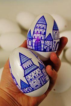 maramanufaktura / Sada- domčeky v modrom , 2ks  husacích vajíčok