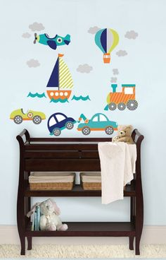 Kids are always captivated by planes, trains, cars and boats! These cute wall decals are perfect for nursery décor, bringing a classic transportation theme to life with beautiful graphics and darling details. Your little one will love the look of their room when you decorate with these fun kids wall decals. Get your hands on this wall pop from www.vinylwarehouse.co.uk :) #be_inspired #inspire_others #vinyl #kids #decal  #home #decor