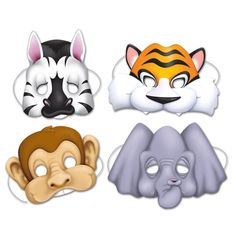 Zebras. Tigers, Monkeys, and Elephants Oh My! Bring on the Jungle with this set of Jungle Animal Mask set. Each set has 4 masks, is made of cardboard, and has an elastic string to hold everything in p