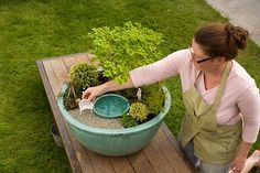 It's easy to love full-sized ponds and water features—but not the time and  money they require. This simple, affordable miniature offers a captivating  alternative.