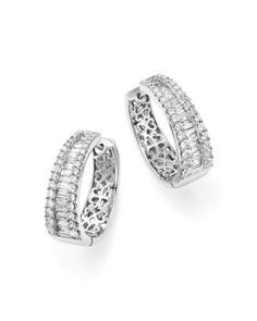 Diamond Round and Baguette Hoop Earrings in 14K White Gold, 3.0 ct. t.w. - 100% Exclusive | bloomingdales.com