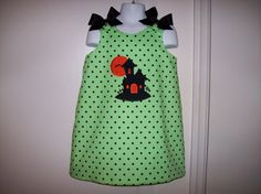 Lime with Black Polka Dot FALL Halloween A-line by thesewprincess
