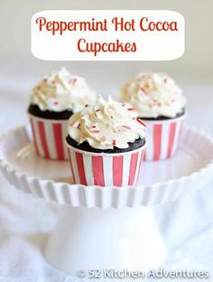 Peppermint Hot Cocoa Cupcakes