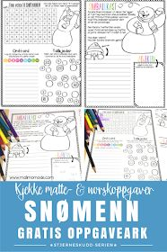 Snowman tasks, the first in a series of freebies for teachers from Malimo Mode! Fun tasks that you can print and bring directly to the classroom. Elementary Teacher, Elementary Education, Kids Education, Math Literacy, Teaching Math, 5th Grade Classroom, Kids Learning Activities, Winter Activities, Teacher Blogs