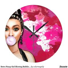 Retro Pinup Girl Blowing Bubble Gum Paint Splatter Large Clock - retro, pinup girl, pin up girl, pinup, pin up, bubble gum, paint splatter, paint, splatter, abstract, gum, bubble, girl, bubbles, pretty, beauty, beautiful, gorgeous, lovely, woman, lady, feminine, girly, pink