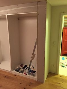 Dry walled in Pax Built In Einbauschrank Trockenbau Knauf Ikea Pax Closet, Ikea Wardrobe, Closet Hacks, Built In Wardrobe, Closet Ideas, Wardrobe Ideas, Creative Bathroom Storage Ideas, Closet Layout, Master Bedroom Closet