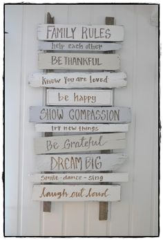 Grateful, happy, family rules sign