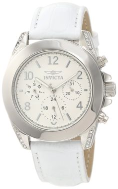 #Invicta #Watch , Invicta Women's 11718 Wildflower Silver Textured Dial White Leather Watch with Crystal Accents