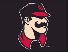 Birmingham Barons Cap Logo (2008) - An old-time baseball player with a cap and mustache on black