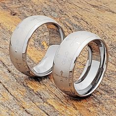 Trinity Wedding Bands Feature a step down edge against an ultra-polished finish. This Tungsten Ring is a 9mm width with a comfort fit. FM Brand. Wedding Band Sets, Wedding Rings, Tungsten Carbide Wedding Bands, Tungsten Rings, Gold Cross, Gold Platinum, Fashion Rings, Cross Rings, Gold Jewelry