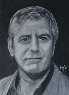 Pastelportret A3 formaat op zwart papier George Michael, George Clooney, A3, Pastels