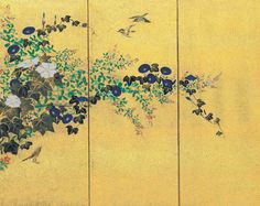Eight panel screen with stream and flowers. Late eighteenth or early nineteenth century. Japanese Painting, Japanese Art, Japanese Screen, Japanese Flowers, Japanese School, Edo Period, Botanical Drawings, Canvases, Asian Art