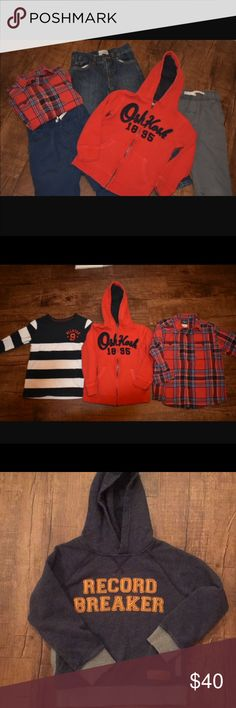 Boys size 6-Selling together as a lot of 7 items Boys size 6 clothing selling together 7 items total 3 pairs of pants  1 pair of Childrens Place blue jeans adjustable waistband size 6 2 pair of Carter's pull on blue and gray khaki with pockets- elastic waistband both in  1 Oshkosh striped shirt long sleeve, 1 button up long sleeve flannel, 1 zip up hoodie with hood, 1 pull over hoodie with kangaroo pocket Clothes come from smoke free/ Pet Free home  Clothes are in great condition. OshKosh…