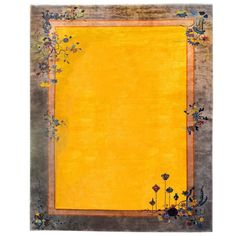 For Sale on - A wonderful Chinese Art Deco rug with a bold golden field and an orange and taupe border. An asymmetrical composition consists of a footed potted vase Chinese Background, Asian Rugs, Art Deco Rugs, Border Rugs, Yellow Art, Art Deco Furniture, Hanging Lanterns, Magic Carpet, Art Deco Design