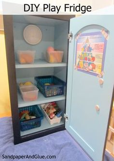 DIY Play Fridge from a kitchen cabinet