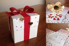 Explosionsbox, Goldene Hochzeit, Valentin, Hochzeitsgeschenk, Stampin'Up, Hochzeit, 50 Jahre, goldene, Box, Geschenk, Schleife, Renke, Blüten, Herzen,