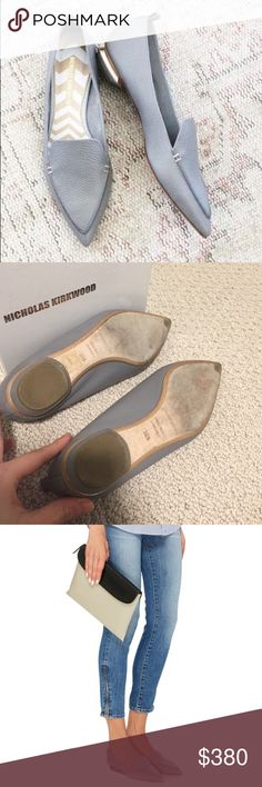 """Nicholas Kirkwood Flats (Gray) Beautiful shoes by award-winning footwear designer Nicholas Kirkwood. These flats have been blowing up in the fashion world and rarely available. Heel measures 1"""". Worn twice. True to size. Comes with original box. Bought from Bergdorf Goodman. Nicholas Kirkwood Shoes Flats & Loafers"""