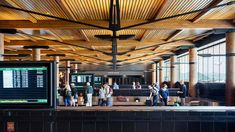 This expansion and renovation at the award-winning Jackson Hole Airport has transformed a congested and outdated baggage claim area into a. Jackson Hole Airport, Teton Mountains, Modern Barn House, Wood Ceilings, Construction, Backdrops, Restoration, Roof Ideas, Architecture