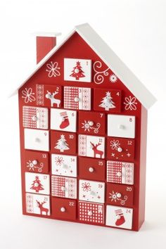 thetravellingsouk.com - This fabulous house style wooden advent calendar is a must have this Christmas! Complete with 24 individually numbered wooden drawers, each painted red and white with pretty stencils. Fill with treats and enjoy the count down to Christmas. Size: 38cm x 27cm x 7cm
